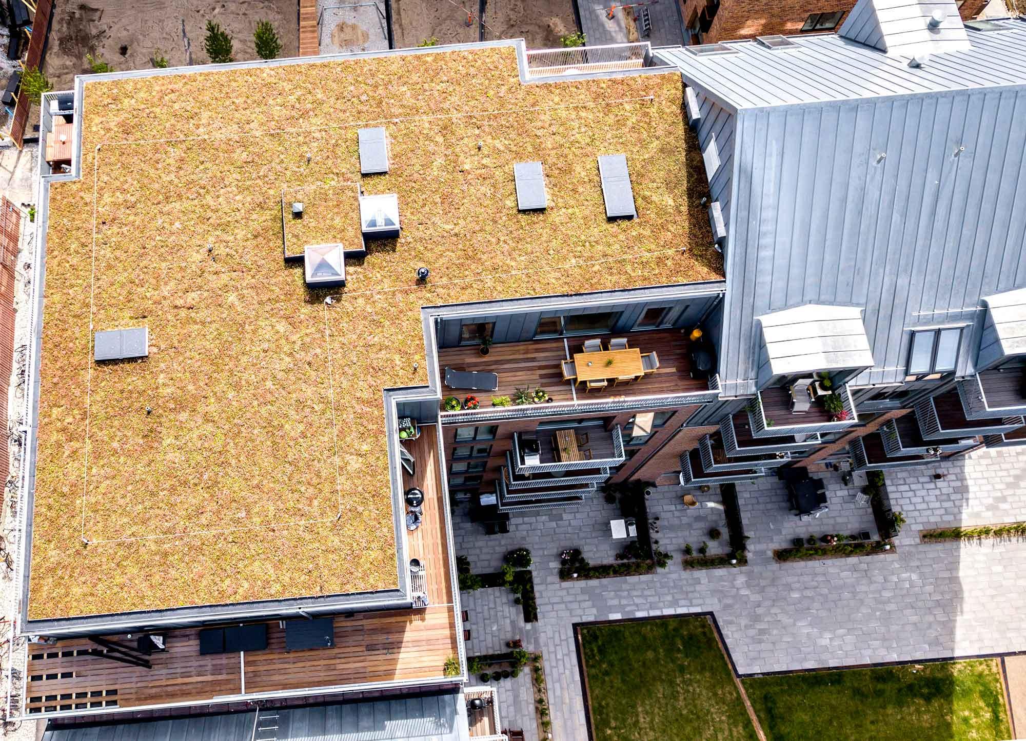 Droneoptagelse af væksthuse i Valby